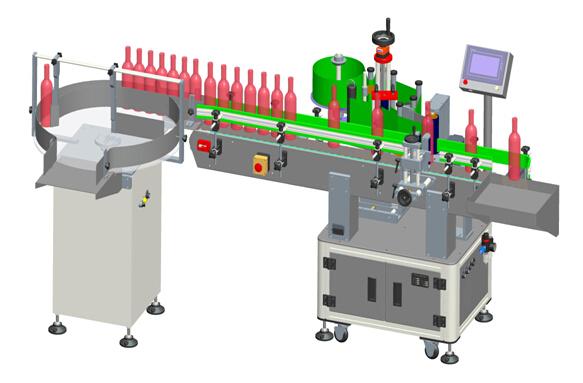 Automatinės vertikalios raudonojo vyno skaidrios etiketės, nurodančios etiketės mašinos informaciją