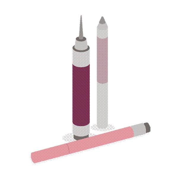 Kosmetikos pieštukų ir rašiklių pakuočių etiketės