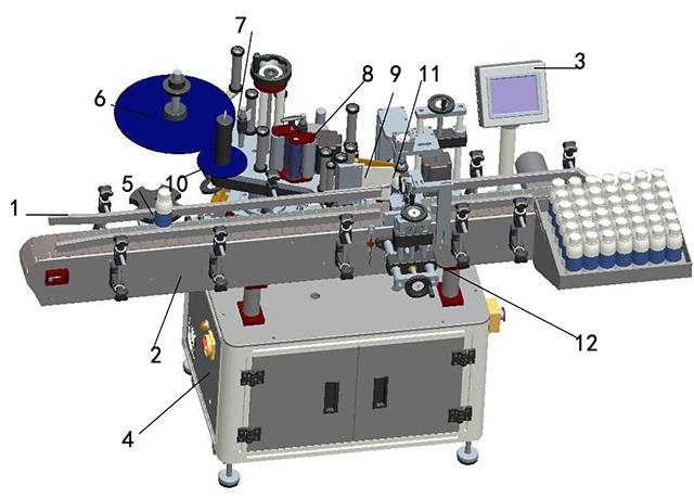 Išsami etiketės mašinos iliustracija