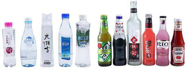 Pilnai automatinis didelės spartos rotacinių PET plastikinių butelių etikečių klijavimo mašinų butelių tipai